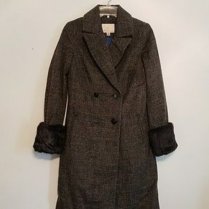 NWOT A New Day XS wool blend gray/blue stripe coat